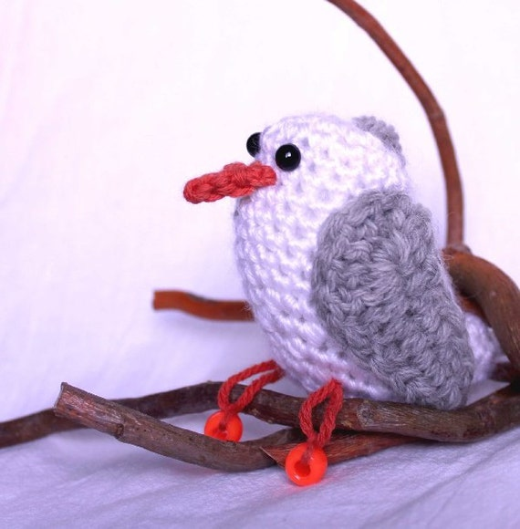 Seagull Crochet Amigurumi by CageFreeFibers on Etsy
