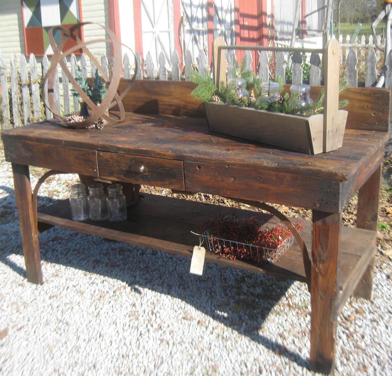 Reserved vintage primitive workbench or garden potting bench - Garden bench ideas complete piece heaven ...