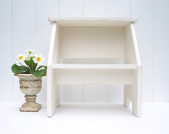 Vintage Style Two Step Stool in Ivory Handmade by Circle Creek Home