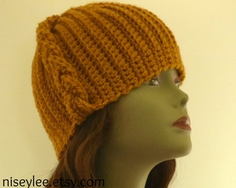 Autumn Hats  Collection Crochet Tan Cloche with side braid