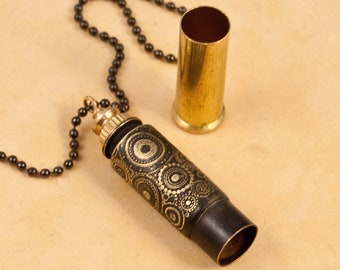 "Unisex Time capsule necklace - ""Circular Logic"" etched bullet casing pendant - bullet jewelry"