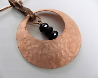 Amethyst Faceted Rondels in Hammered Copper Disc Necklace--Matte Finish