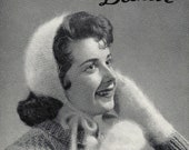 Vintage Cosy Cap and Mitts Beehive Pattern Knit Woman's