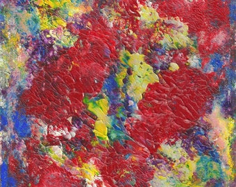 Wall Art Original Abstract View From Above Acrylic Painting in White Mat