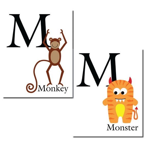 S A L E - M is for Monkey... The Letter M - ABC Alphabet Art Print in 8 x 10