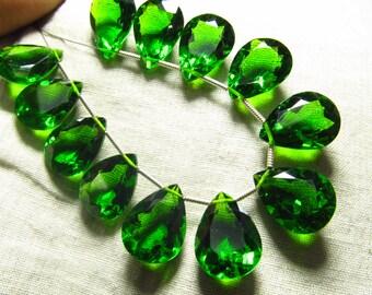 5 Matched Pairs - EMERALD GREEN  QUARTZ - Super Sparkle Fine  Cut Pear Shapes Briolettes - 12x16 mm Size