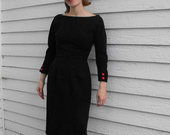 Vintage 60s Dress XS XXS Dark Gray Wool Fitted