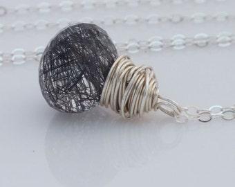 Black Rutilated Quartz Necklace, Rutilated Quartz Necklace, Quartz Jewelry