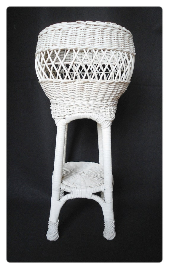 Tall Vintage White Wicker Fern Or Plant Stand Holder By