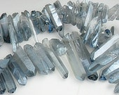 Quartz Points, Mystic Coated Blue Gray Gemstone Beads, Dagger Shape Quartz,  Mystic Transparent finish, 15-30mm   Sold by 4-8  pieces