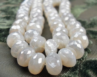 Large White Pearl, Shell, Chalcedony, Fat  Faceted Gemstone Beads, 10x4mm   25 pc