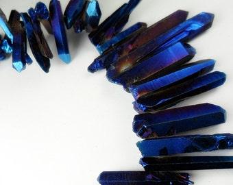 Gemstone, Electric Blue Violet  Electroplated Quartz Points, Dagger Shape Quartz,  Solid finish, 25-40mm  6 pieces