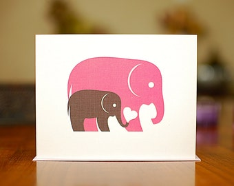 Baby & Mama (or Papa) Elephant New Baby Card on 100% Recycled Paper
