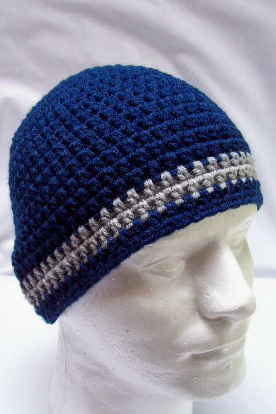 Items similar to mens hat youth boys beanie crochet hat navy blue ...