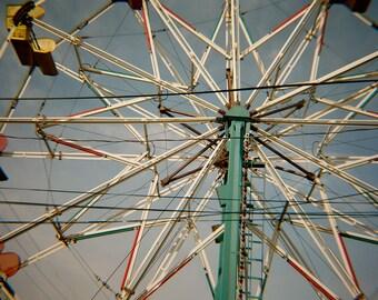 SPOKES - Ferris wheel, vintage look, Fine Art Carnival Photograph, set of three Note Cards