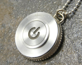 Super Power - Woman's or Man's, Sterling Silver Recycled MAC Power Button Necklace, Birthday, Gift, Made to Order