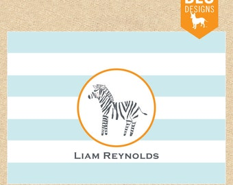 Personalized Zebra Notecards in Aqua - Set of 10 fold-over cards, personalized stationery or thank you notes