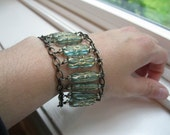 Cuff Bracelet--beaded--antique brass chain--Aqua Gold--Glass Rectangle--Flower Etched--Tatiana
