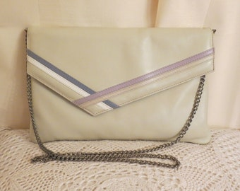 Vintage 50s SYDNEY AUSTRALIAN MADE Faigen Cream Leather Shoulder Handbag Clutch Purse