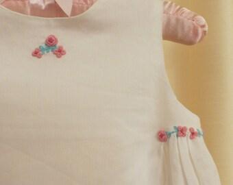 Vintage Hand Embroidered White Girl's Summer Dress