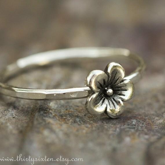 Cherry Blossom Silver Ring