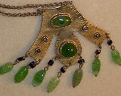 Indian jade glass beaded fabulous OOAK vintage hammered brass pendant necklace with eye bead