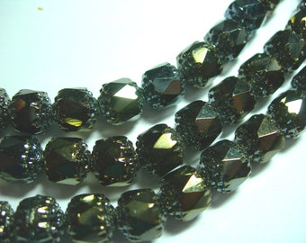 25 8mm Brown Iris Firepolished Cathedral Czech Glass Beads