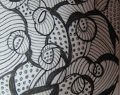 Swirls  Zentangle ACEO Black & white Original Pen Ink 278 -OAK WatercolorsNmore Drawing Illustration