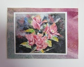Pink Bougainvillea Original watercolor and print collage handmade ACEO 319 WatercolorsNmore