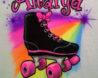 Rainbow Roller Skate T-Shirt Personalized w/  Name Airbrush Shirt