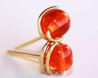 Orange Stud Earrings * Orange Earrings * Orange Jewelry * Bright Orange * Glass Stud Earrings * Glass Studs * Studs.*Lulu Goes to Hollywood*