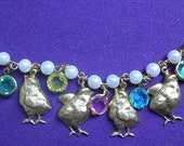 Adorable Easter Chick Bracelet with Vintage Rhinestone Drops