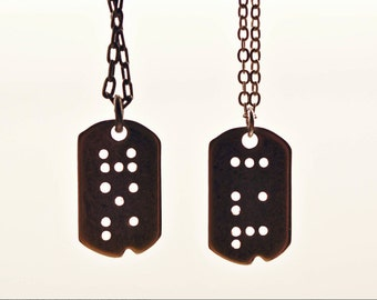 HIS & HERS : 2 Custom Braille Dog Tag Initial Necklaces