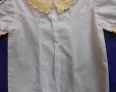 1950s Vintage Baby Boy Baptism Romper - size 6-9 mo. white/yellow