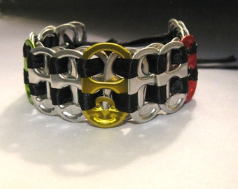 Recycled Soda Pop Can Tab Bracelet Rastafarian Colors