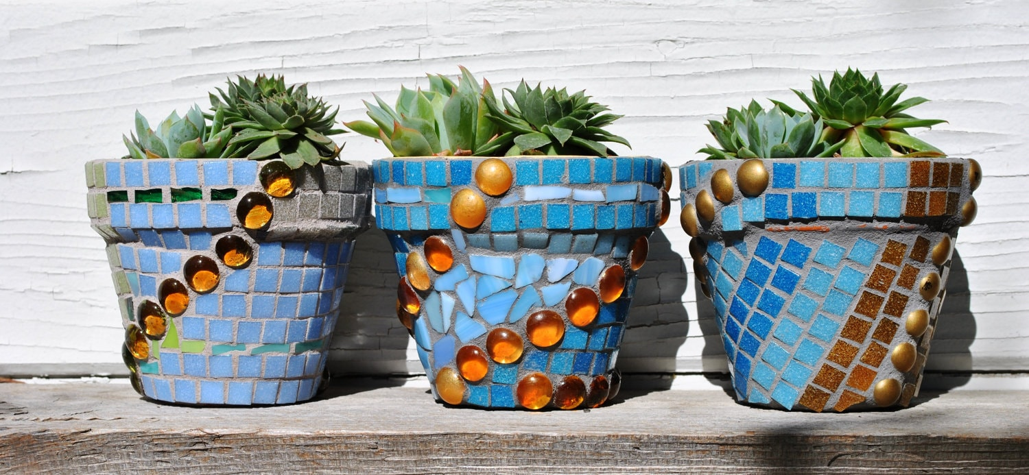 Trio Of Mosaic Tile Flower Pots In Tranquil Shades Of Blue