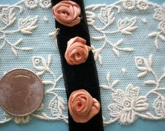 3 Antique ribbon work roses on black velvet authentic 1920s