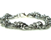 Chainmaille Jewellery, Silver Spiral Bracelet, Aluminum