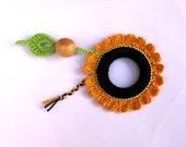 Sunflower Baby Teething Ring/ Crochet toy / Fine motor skills development toy / Chewing Toy