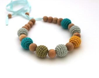 Green Aqua Yellow Teething Necklace / Nursing Necklace