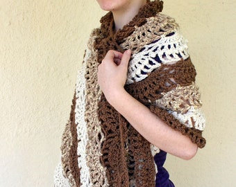 Crocheted wrap brown white shawl rectangular lacy striped neutral women rectangle stole wearable accessory warm