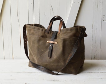 Large Waxed Canvas Tote in Truffle. Waxed Canvas Crossbody Bag, Waxed Canvas Diaper Bag, Waxed Canvas Handbag, Waxed Canvas Purse Truffle