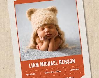Modern Frame - Photo Birth Announcement - Baby Girl or Baby Boy
