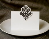 Black Damask Place cards, escort cards in Black Damask- for events weddings, parties and holiday entertaining