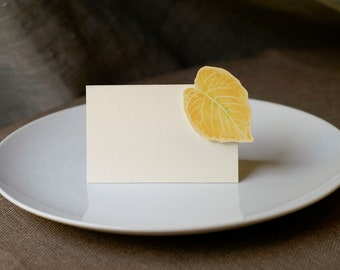 Fall Yellow Leaf - Place Card - Gift Card - Table Number Card - Menu Card -weddings events