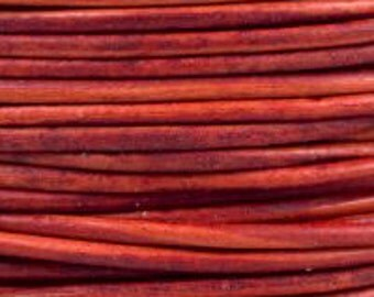 2m / 5m ( 6.5 / 16 feet ) 2mm  RED Leather Cord natural dye Quality Round soft USA lead free