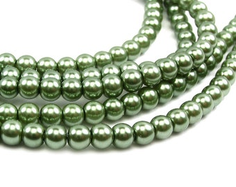 "15.5"" 104pcs 4mm AUTUMN green Round Glass Pearls round small"
