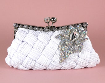 White Bridal Clutch, Wedding Clutch, Rhinestone Clutch, Vintage Style Clutch, Wedding Clutch, Bridal Accessories