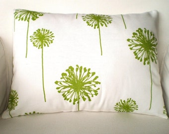 Green Lumbar Pillow Cover, Decorative Throw Pillows, Cushions, Lime Green White Dandelion Lumbar, Pillows for Couch, One 12 x 16 or 12 x 18