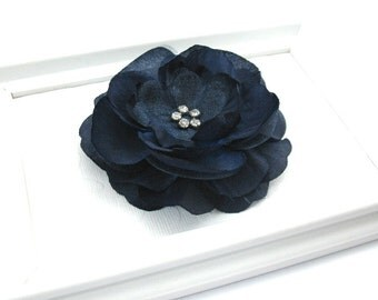 Navy Blue Flower Hair Clip, Nautical Wedding, Bridesmaid Hair Accessory, Large Flower Hair Clip with Rhinestones